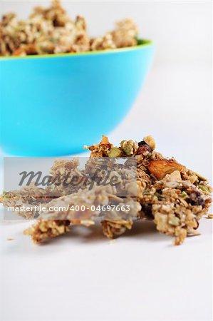 gourmet granola in blue bowl vertical