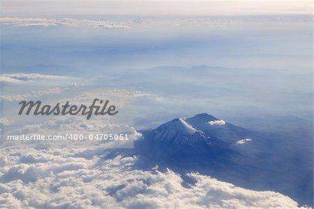 Popocatepl Popocatepetl volcano airplane aerial view in Mexico City