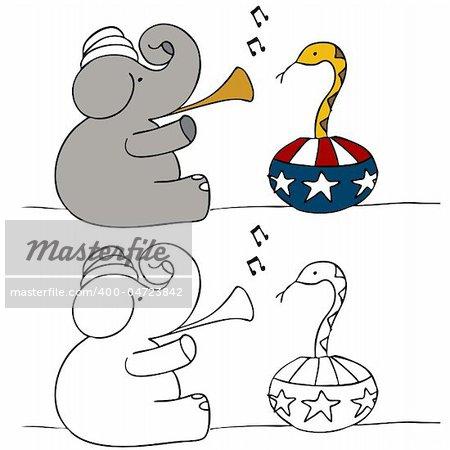 A political image of a elephant snake charmer.