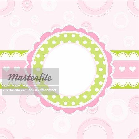 Baby girl arrival announcement card, vector