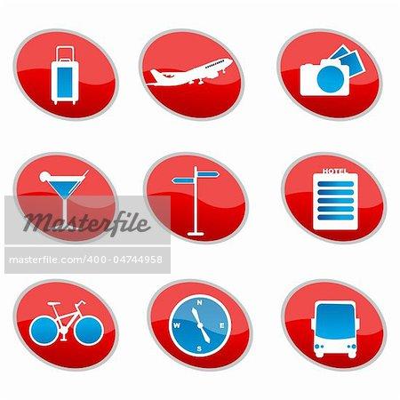 illustration of set of travel icons