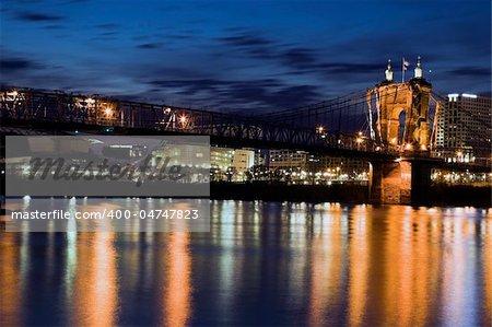Historic bridge in Cincinnati, Ohio. Seen from Kentucky.