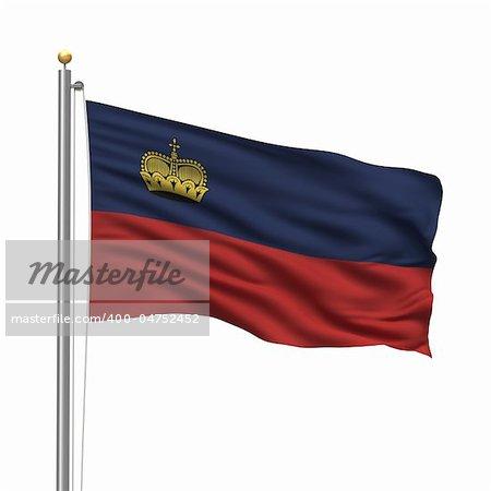 Flag of Liechtenstein with flag pole waving in the wind over white background