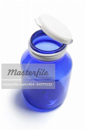 Blue Pill Bottle on White Background
