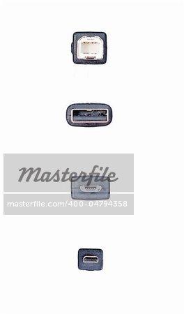 USB mini-USB and micro-USB  USB 2.0 a white background