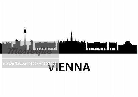 detailed vector skyline of Vienna