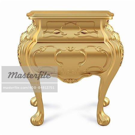beautiful golden nightstand. isolated on white.