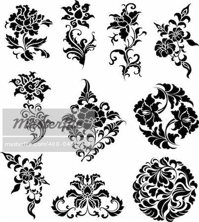 decorative swirl floral set