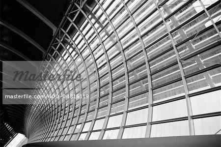 Modern architecture background of steel line indoor.