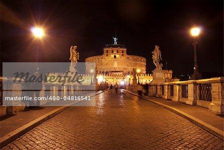 Rome. St Angel's castle by night