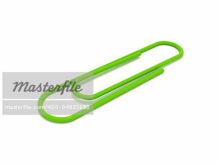 3D rendering of a green paper clip