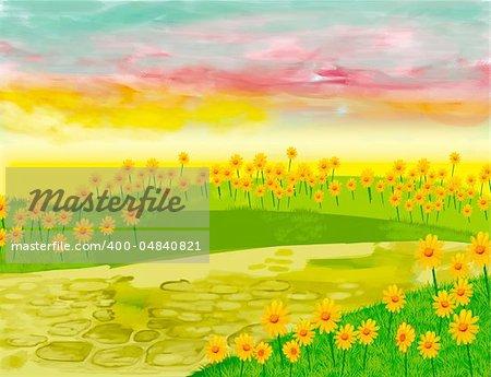 a digitally illustrated landscape background