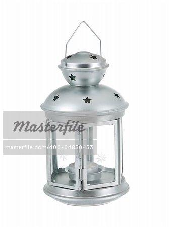 Tin grey lantern on pure white background