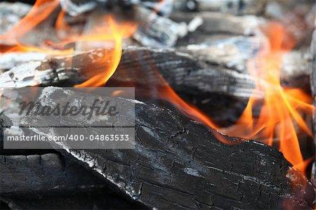 Burning wood, open fire