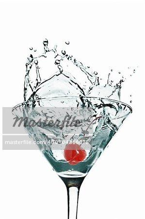 cherry Martini Splash on White background