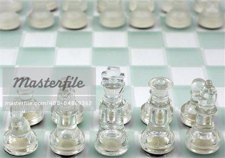 Glass chess close up