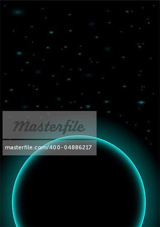 Astral Background - Dark Planet on Black Background