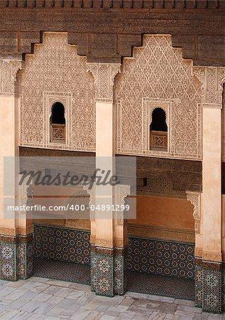 Courtyard of Ali Ben Youssef Madrasa (Marrakech, Morocco)