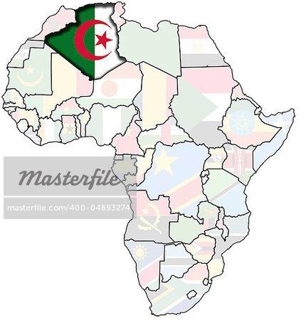 flag of algeria on africa map