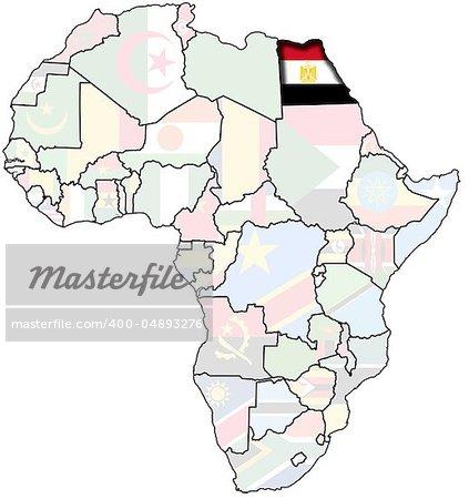 flag o egypt on map of africa