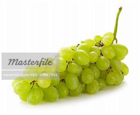 fresh green grapes on white background