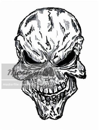 sketch of evil skull