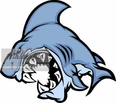 Cartoon Image of a Shark Body with Big Teeth
