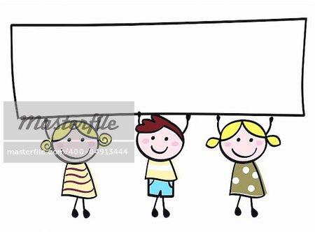 Happy cute little girls and boy holding empty blank banner - cartoon illustration.