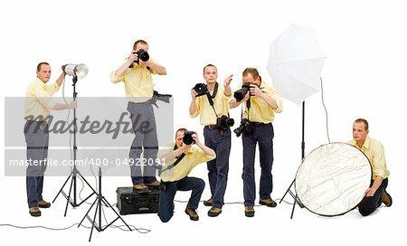 A photo crew during a studio shoot