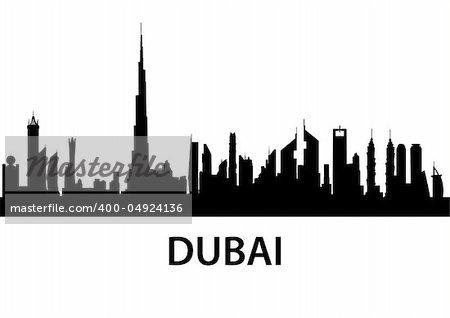 detailed illustration of the city of Dubai, UAE