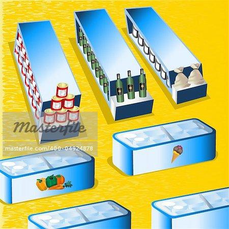 Detailed illustration of a supermarket gondolas, refrigerators and aisles.