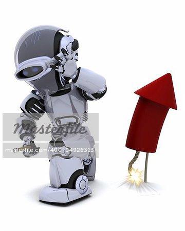 3D Render of a Robot lighting a firework