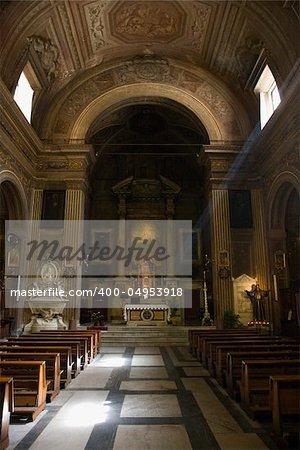 Church interior in Rome, Italy.