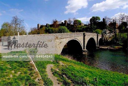 dinham medieval bridge river teme ludlow castle shropshire england uk