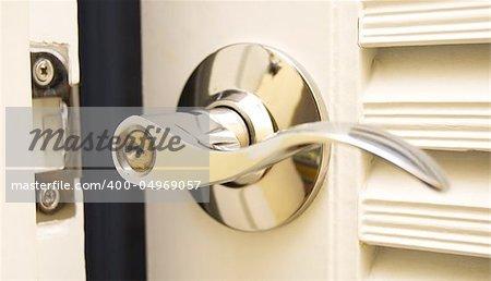Door Handle  Chrome Door Knob  Focus on keyhole