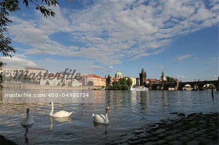 view on Charles bridge and river Vltava , Prague