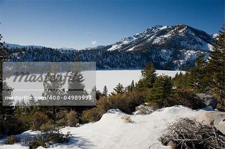 Frozen lake near Lake Tahoe