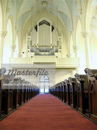 church organ and pews