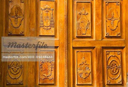 Golden Brown Wooden Church Door with Religious symbols, Tlaquepaque Guagalajara Mexico