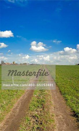 A footpath across a green field