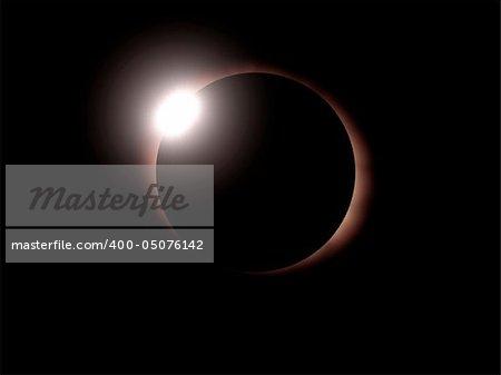 Tha diamond ring of sun eclipse - 3d render