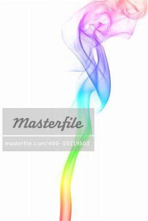 Rainbow smoke flower isolated at white background