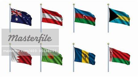 World flag set 02 - Australia, Austria, Azerbaijan, Bahamas, Bahrain, Bangladesh, Barbados and Belarus