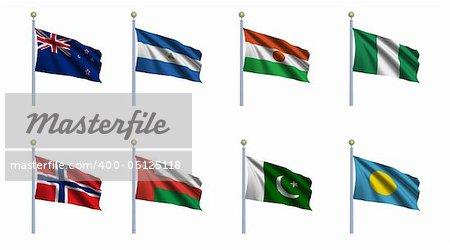 World flag set 17 - New Zealand, Nicaragua, Niger, Nigeria, Norway, Oman, Pakistan and Palau
