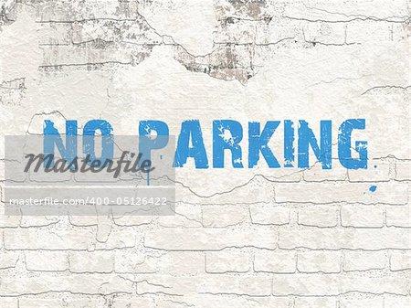 An illustration of a grunge brick wall seamless texture no parking