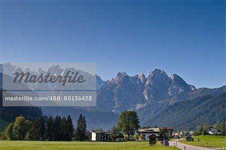 Gosaukamm view from Gosau, beautiful town in Salzkammergut region, Austria