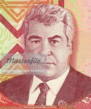 Saparmurat Niyazov on 1000 Manat 2005 Banknote from Turkmenistan. President of Turkmenistan during 1990-2006.