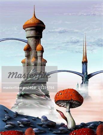 Illustration of a fantasy castle in an alien world