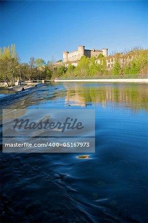 river Tormes with bridge at Barco village in avila spain