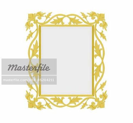 Isolated decorative golden frame over white background